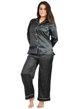 Up2date Fashion's Women's Long Button-Down Satin Pajamas