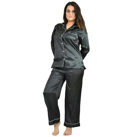 Up2date Fashion's Women's Long Button-Down Satin Pajamas](Cotton Sateen Pajamas)