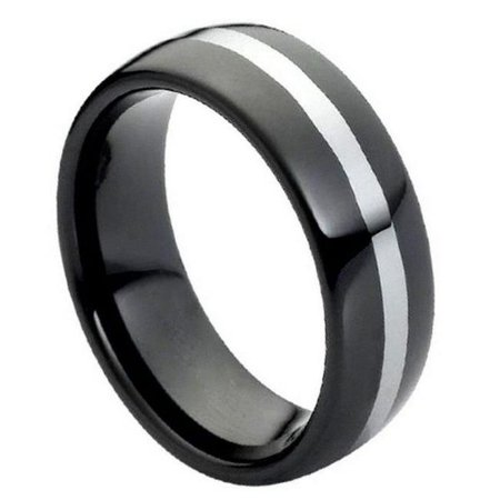 TK Rings 115TR-8mmx7.0 8 mm High Polish Black IP Plate Shiny Center Line Tungsten Ring - Size