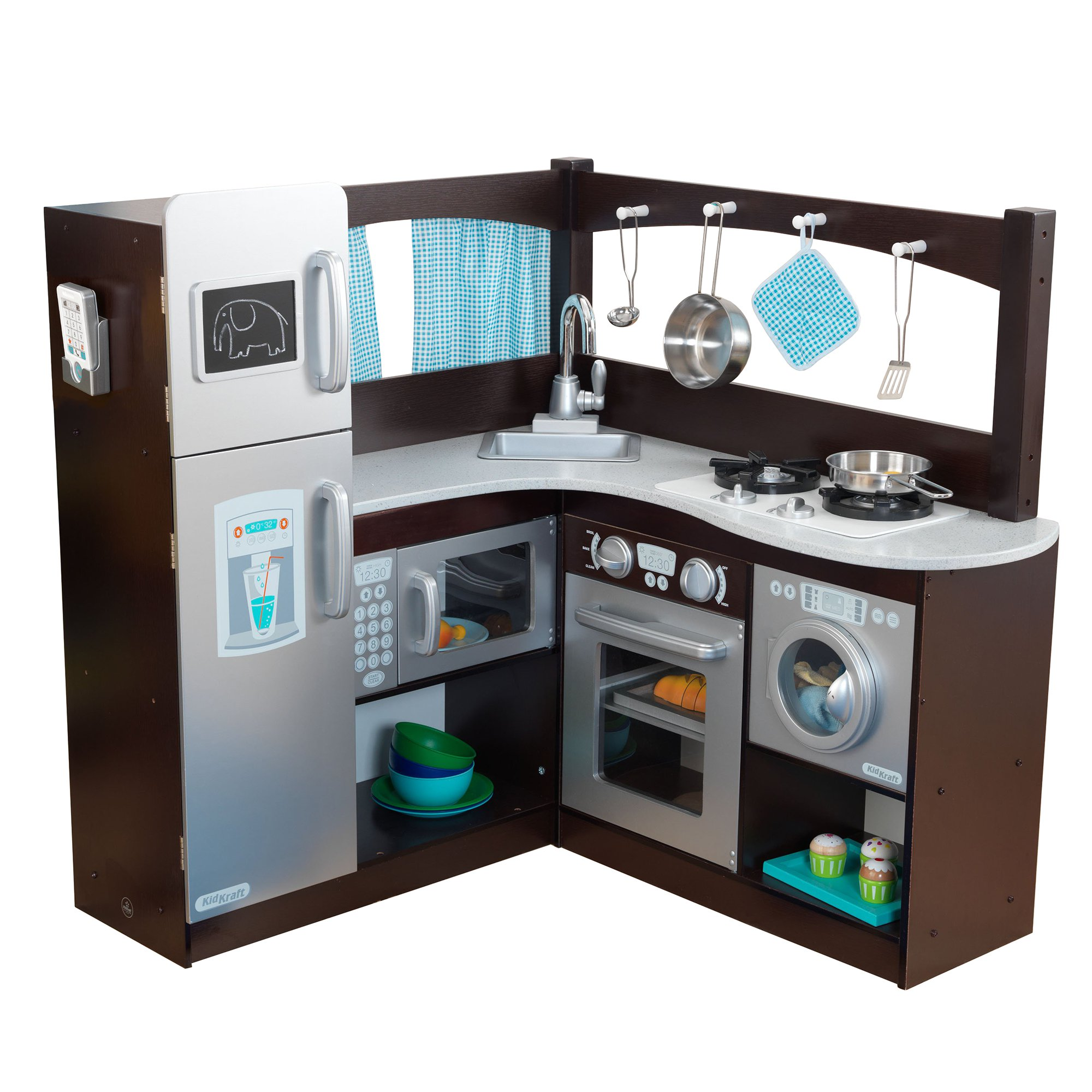 Kidkraft Wooden Play Kitchen kidkraft grand gourmet uptown espresso corner wood play kitchen