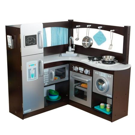 KidKraft Grand Gourmet Uptown Espresso Corner Wood Play Kitchen & Metal