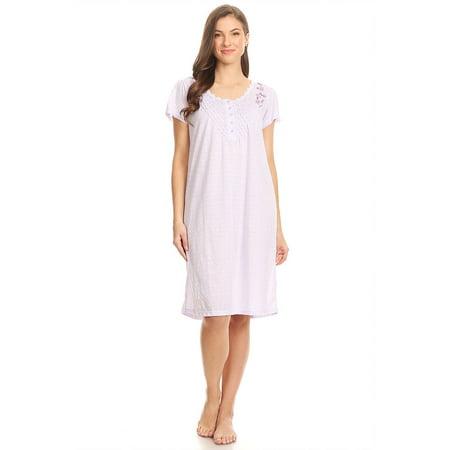 100107 Women Pajamas Night Gown Sleepwear Night Shirt Purple L