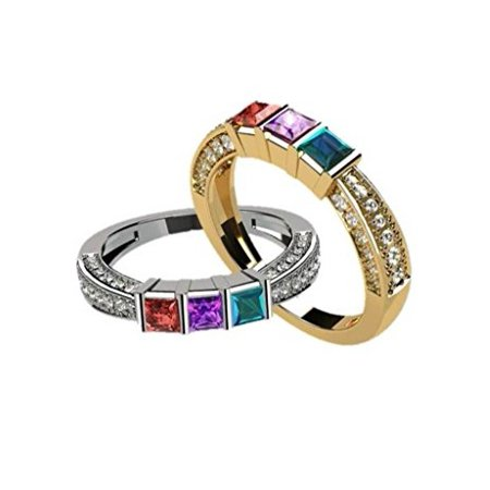 Princess with accent CZs on 3 Sides Mother's Ring 1-6 Stones - Silver - Size - Cts Center