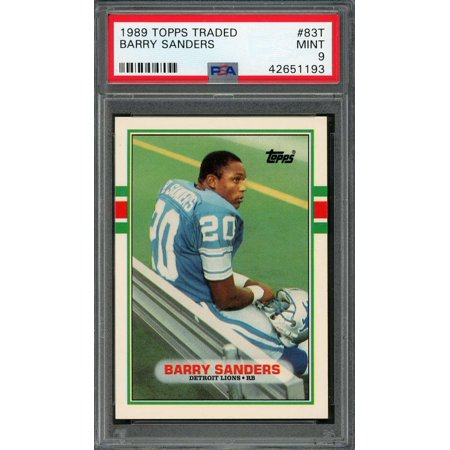 1989 topps traded #83t BARRY SANDERS detroit lions rookie card PSA 9
