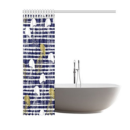 GCKG Sea Animal Stripes Shower Curtain, Golden Glitter Jellyfish Polyester Fabric Shower Curtain Bathroom Sets with Hooks 60x72 Inches - image 3 de 3