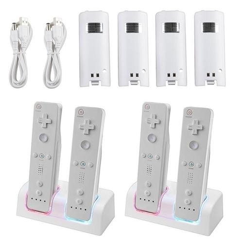 Insten 4x Battery + 2x Dual Charger Station Dock For Nintendo Wii / Wii U Remote Controller