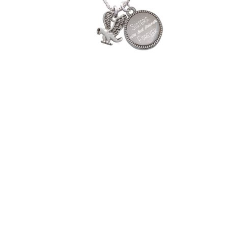Silvertone Small Eagle - Mascot Sisters Are Best Friends Forever Engraved Necklace