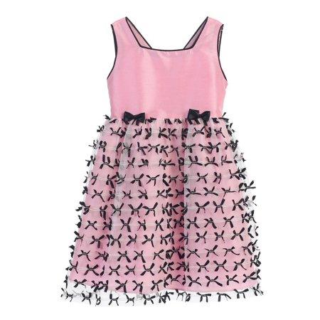 Angels Garment Little Girls Pink Black Ribbon Bow Mesh Dress 3T - Pink Little Girl Dresses