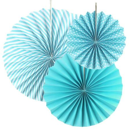Paper Rosette Pinwheel Party Backdrop Fans, Blue, Assorted Sizes, 3-Piece](Party Pinwheels)