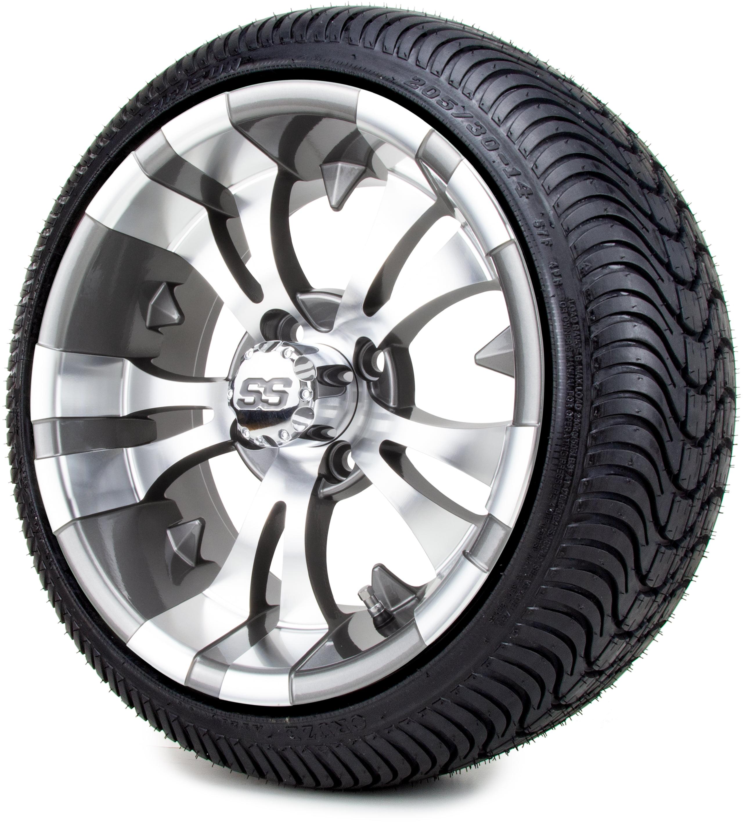 14 Modz Vampire Gunmetal Golf Cart Wheels And Low Profile Tires Combo Set Of 4 Walmart Com Walmart Com