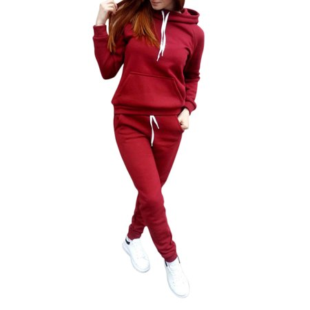 Women's 2pcs Sport Suits Outfits Hooded Sweatshirt +Pants Sets Autumn Winter (Womens Outfits)