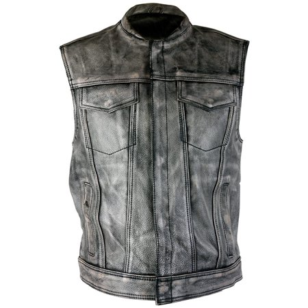 Xelement XS-39050 Mens Crypt Distressed Gray Leather Premium Cowhide Vest (Cow Vest Woody)