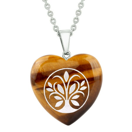 Amulet Tree of Life Magical Powers Protection Energy Tiger Eye Puffy Heart Pendant 18 Inch