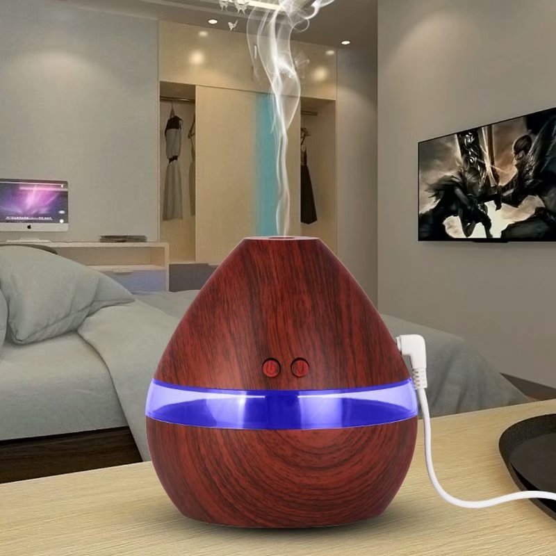 VicTsing 300ML Large Capacity Humidifier with LED Light Aromatherapy Essential Oil Diffuser Powered by USB Charging,dark wood grain