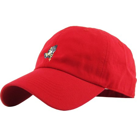 ed8f1f2664dff Praying Hands Rosary Red Dad Hat Baseball Cap Polo Style Adjustable Flexfit  Nike Adidas City Hunter - Walmart.com