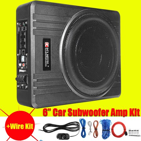 10'' 600W 4Ω U ltra Thin Slim Cast Under Seat Car Audio Active Subwoofer Powered Enclosure Aluminum Amplifier + Wire -