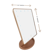 "Modern Lighted Vanity Makeup Mirror w/ 22 Led Lights 180 Degree Rotation Gold Finish 6.5"" X 11"""