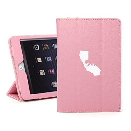 For Apple iPad Mini 1/2/3 Light Pink Faux Leather Magnetic Smart Case Cover Cali Bear (123 Bear)