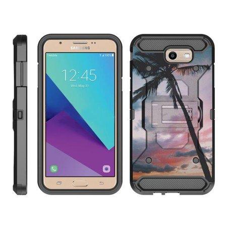 Palm Pre Leather Case (TurtleArmor ® | For Samsung Galaxy J7 | J7 V | J7 Prime | J7 Sky Pro [Full Body Protection] Hybrid Kickstand Rugged Cover Holster Belt Clip Case - Palm Tree Sunset)