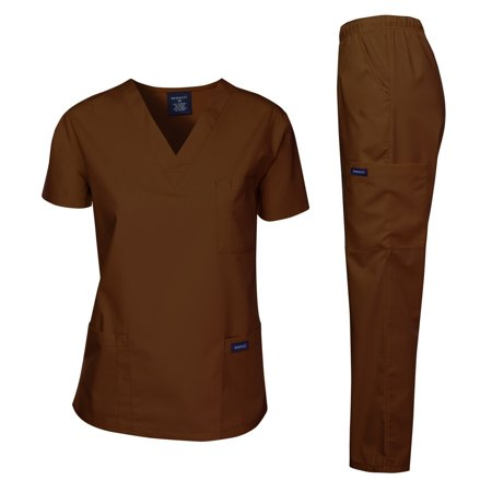 Dagacci Scrubs Medical Uniform Unisex Scrubs Set Medical Scrubs Top and Pantss (Brown, M)](Halloween Scrubs For Men)