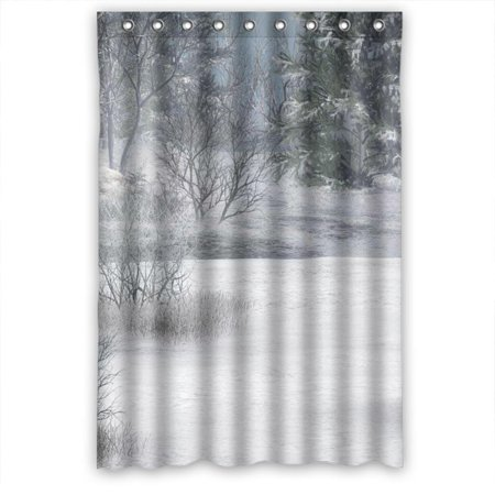 Ganma Winter Snow Wonderland Shower Curtain Polyester Fabric Bathroom 48x72 Inches