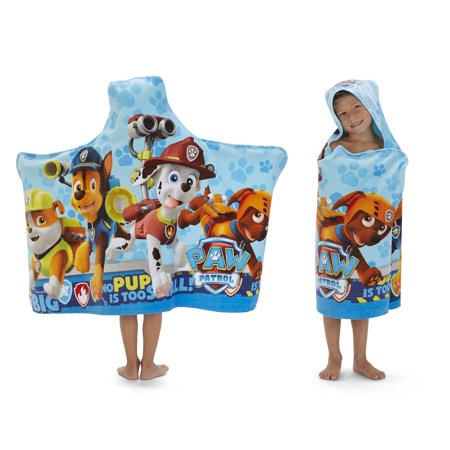 PAW Patrol Kids Bath and Beach Soft Cotton Terry Hooded Towel Wrap, 100% Cotton Lion Hooded Towel