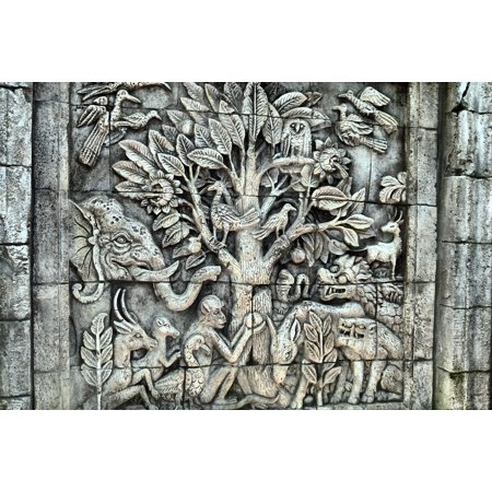 Canvas Print Stone Flora Mythical Relief Temple Wall Sculpture Stretched  Canvas 10 x 14