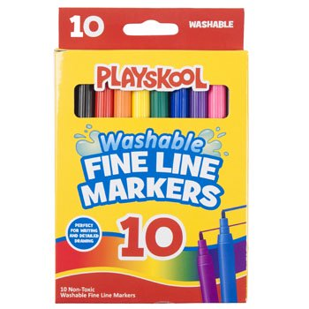 PLAYSKOOL MARKERS 10CT FINELINE WASHABLE WINDOW BOXED, Case Pack of 48