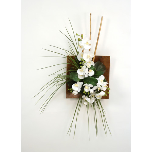 Distinctive Designs Silk Orchid, Bamboo and Grass Wall Arrangement in Wood Sushi Tray