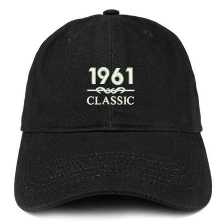 Trendy Apparel Shop Classic 1961 Embroidered Retro Soft Cotton Baseball Cap - Black