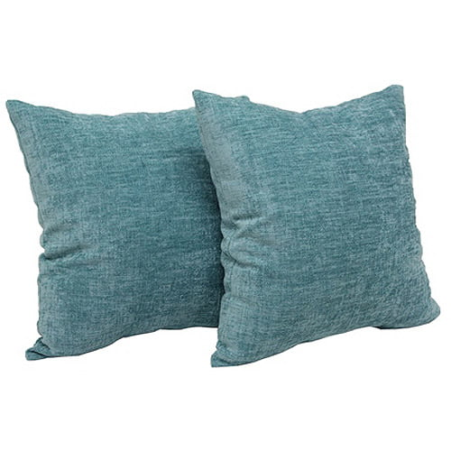 Chenille Throw Pillow Set of 2 Teal Mainstays New Free Shipping eBay
