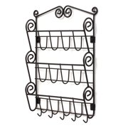 Spectrum Diversified Scroll Wall-Mounted 3-Tier Mail Organizer With Key Hooks, Wall Mount Entryway Organizer for Mail & Keys, Wall Letter Holder for Home & Office Organization, Black