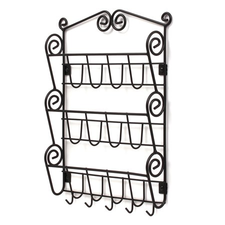 Spectrum Diversified Scroll Wall Mount 3-Tier Letter Holder & Key Rack, Black, 43310
