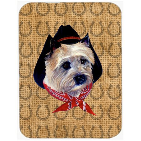 Caroline's Treasures Cairn Terrier Dog Country Lucky Horseshoe Glass Cutting Board