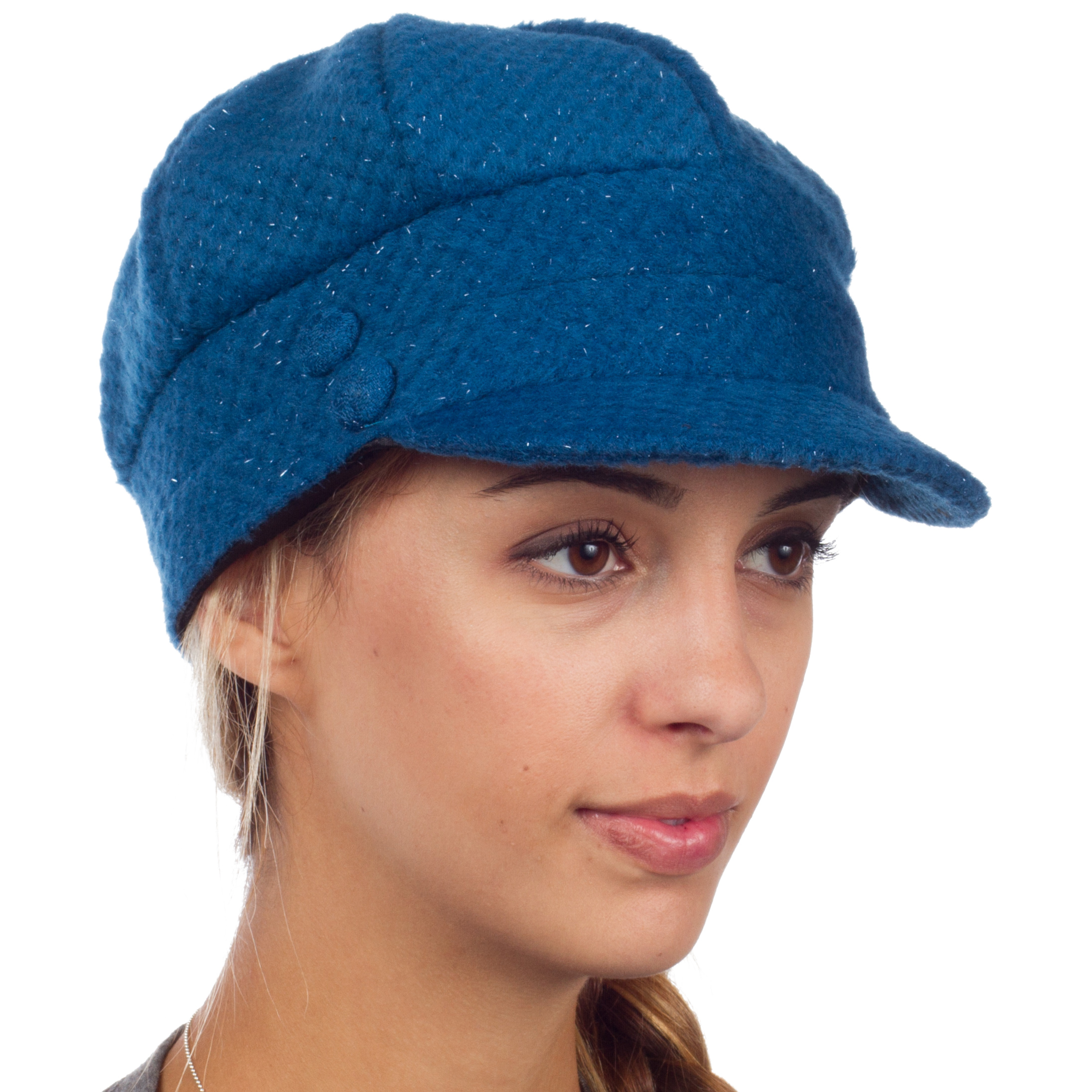 Sakkas Womens Wool Blend Newsboy   Cabbie Winter Hat   Cap with Buttoned Detail Blue One... by