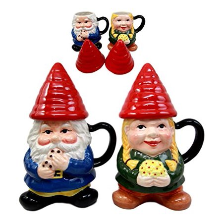 Figurine Mug (Atlantic Collectibles Whimsical Mr & Mrs Gnome Couple Ceramic Mug Coffee Cup Set Home Kitchen Stoneware Figurine)