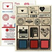 """Martha Stewart Valentine Mounted Stamp Set, 5"""" x 6.25"""", Love Notes"""