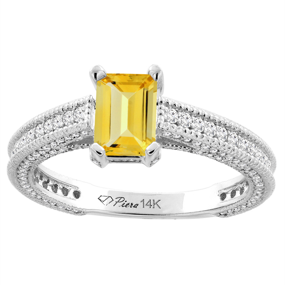 14K White Gold Natural Citrine & Diamond Ring Octagon 7x5 mm, size 6 by Gabriella Gold