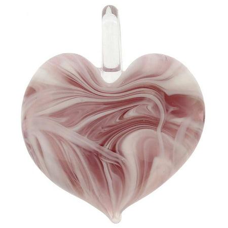 GlassOfVenice Murano Glass Venetian Marble Heart Pendant - Purple Purple Murano Heart Pendant
