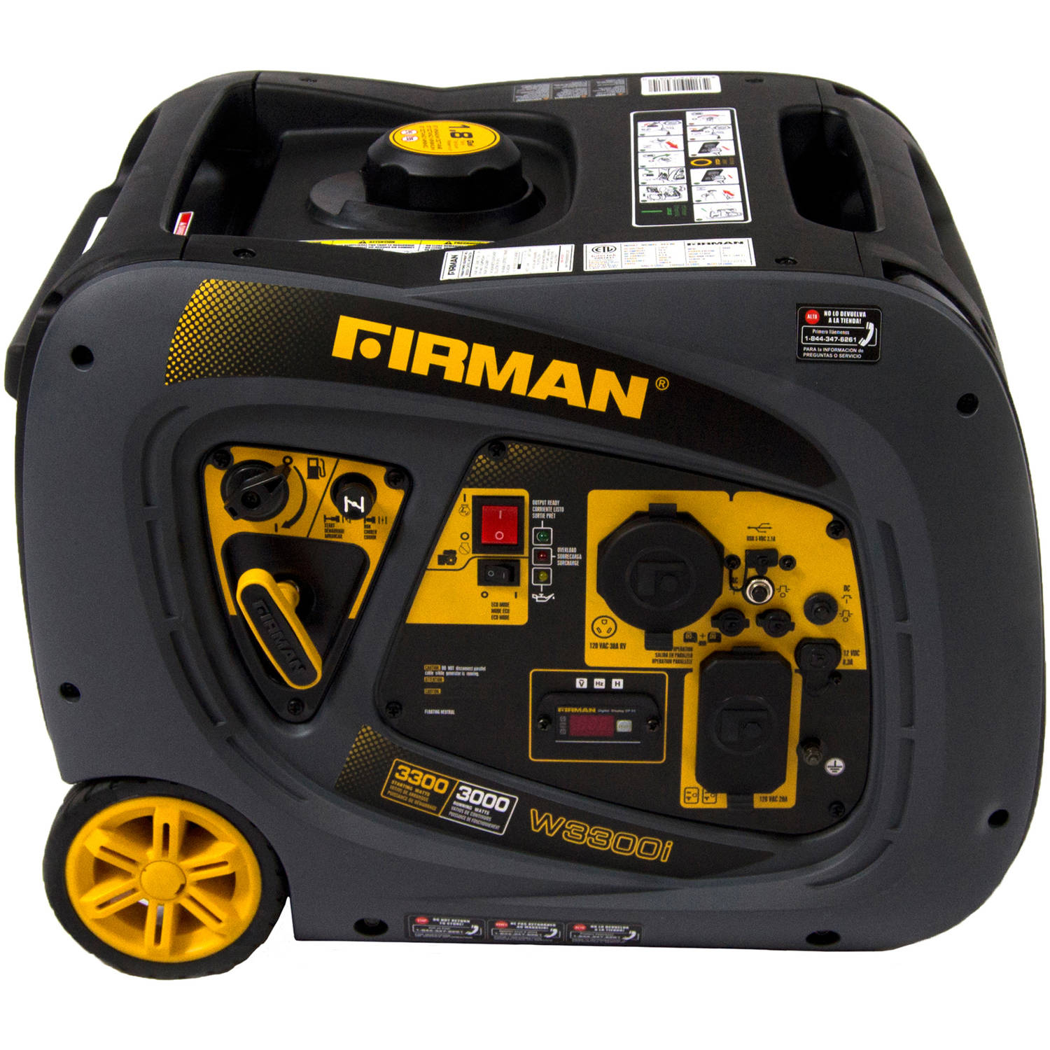 Firman W03081 3300/3000 Watt Gas Recoil Start RV Ready Inverter Generator with USB, cETL, CARB
