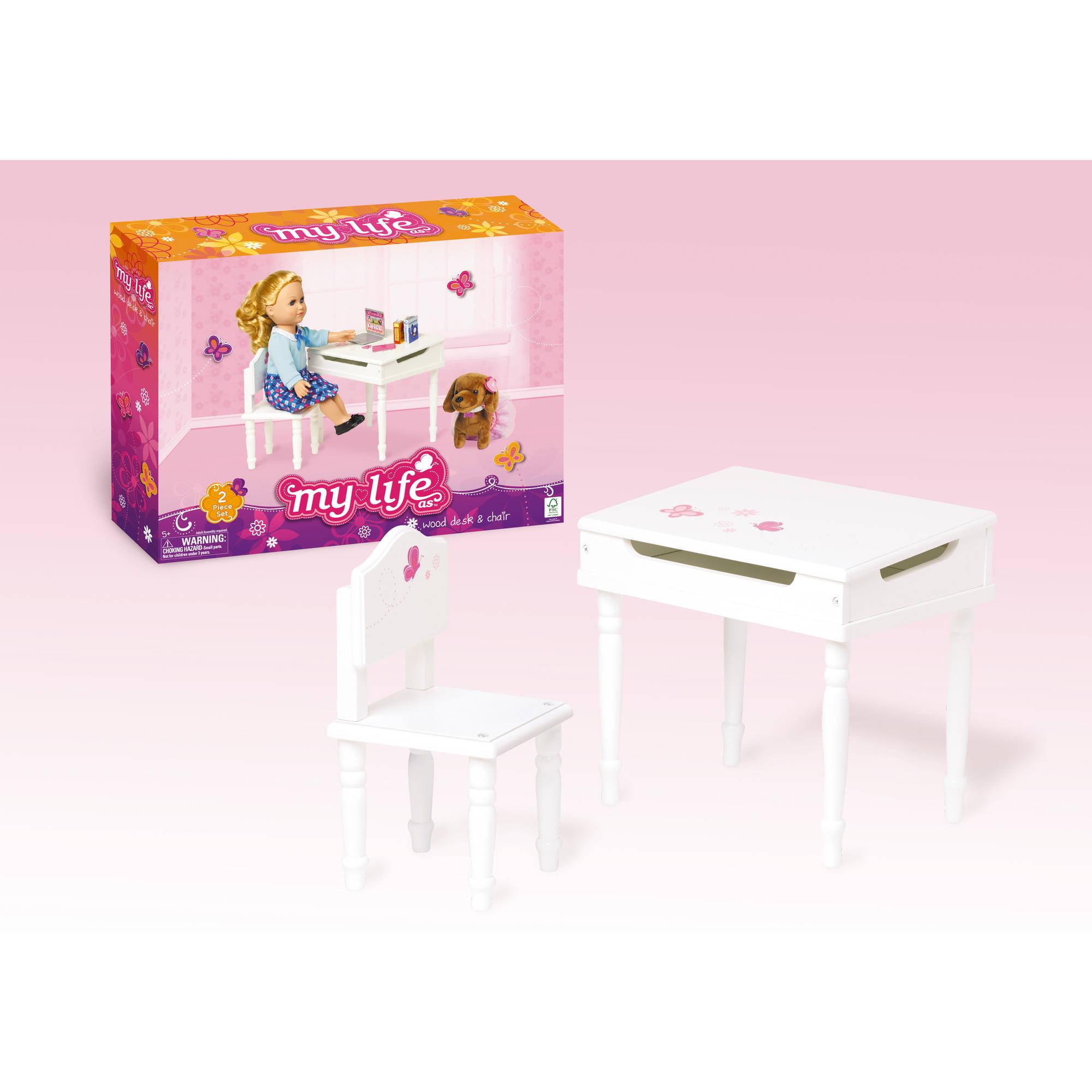 Astounding My Life As 18 Doll Furniture Desk And Chair Walmart Com Theyellowbook Wood Chair Design Ideas Theyellowbookinfo