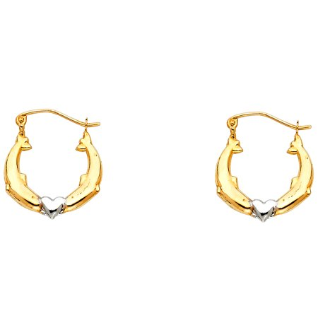 FB Jewels 14K White And Yellow Two Tone Gold Dolphin Hollow Hoop Womens Earrings 17MM X (Semi Hollow 3 Tone Sunburst)