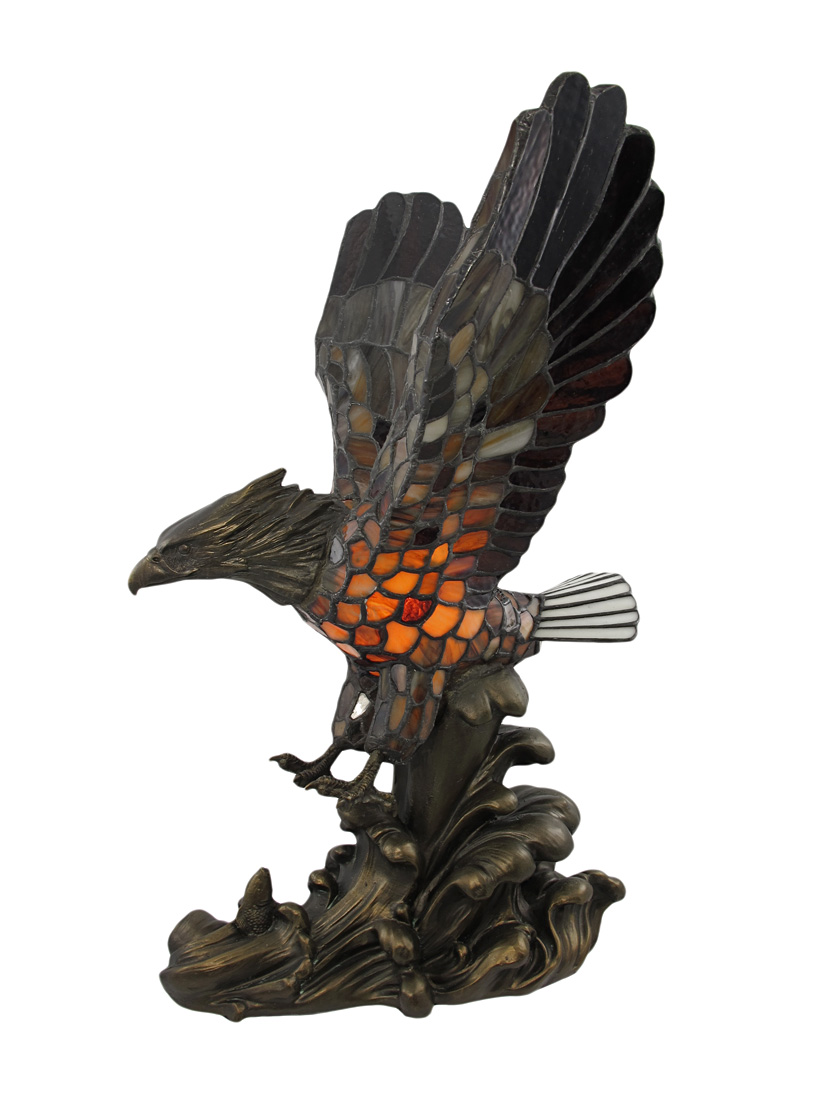 Majestic Stained Glass Eagle Accent Table Lamp   Walmart.com