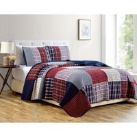 Chezmoi Collection Grizzly 2-Piece Plaid Checkered Patchwork Quilted 100% Soft Cotton Reversible Bedspread Quilt Set