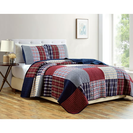 Chezmoi Collection Grizzly 2-Piece Plaid Checkered Patchwork Quilted 100% Soft Cotton Reversible Bedspread Quilt (Woolrich Hadley Plaid Comforter Set Queen Multicolor)