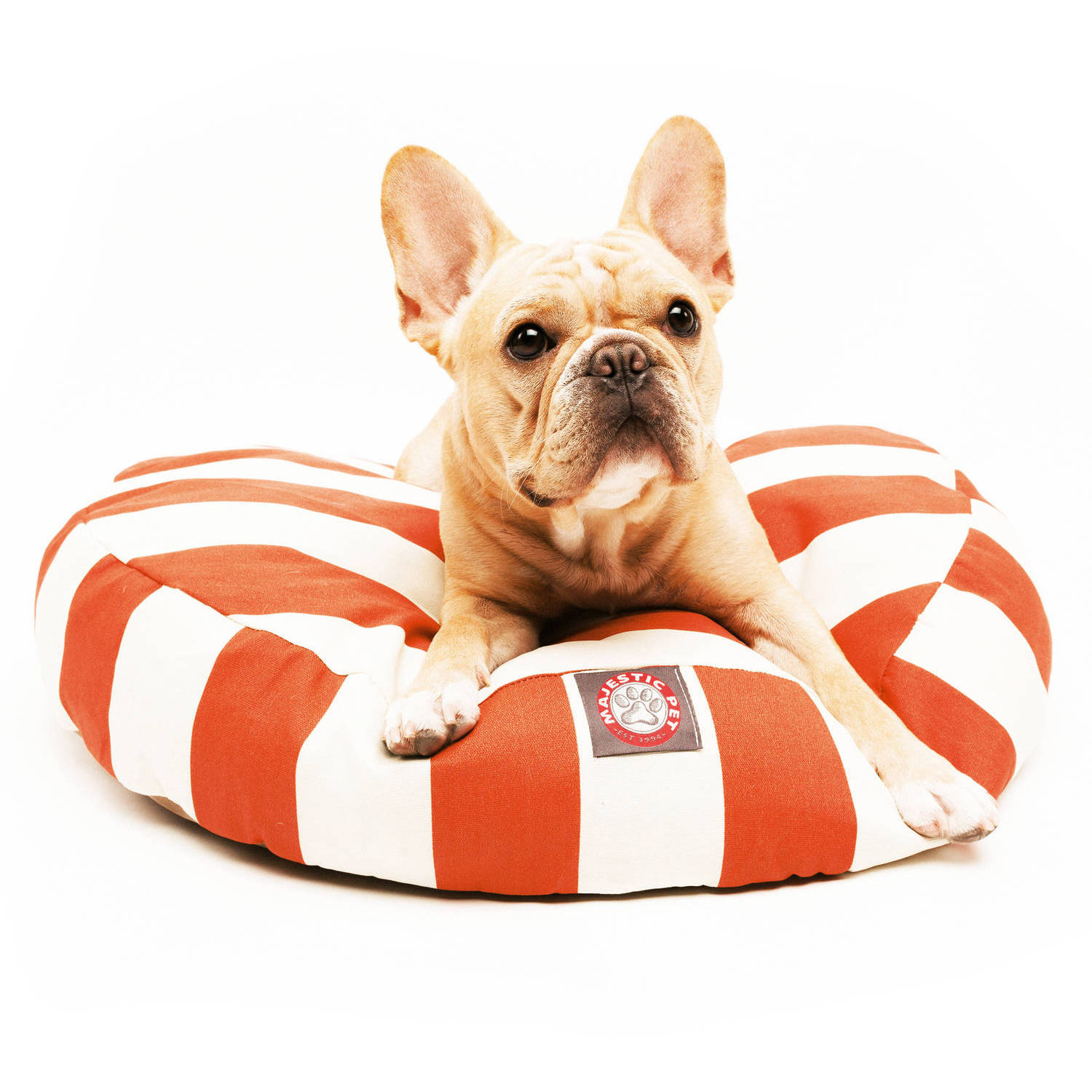 Majestic Pet Products Vertical Stripe Round Outdoor Indoor Pet Bed Removable Cover