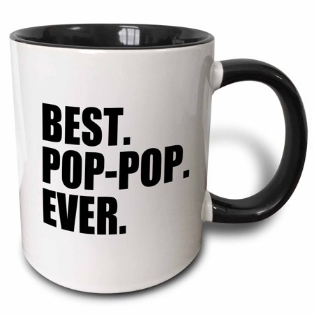 3dRose Best Pop-pop Ever - Gifts for Grandfathers - Grandad Grandpa nicknames - black text - family gifts, Two Tone Black Mug,