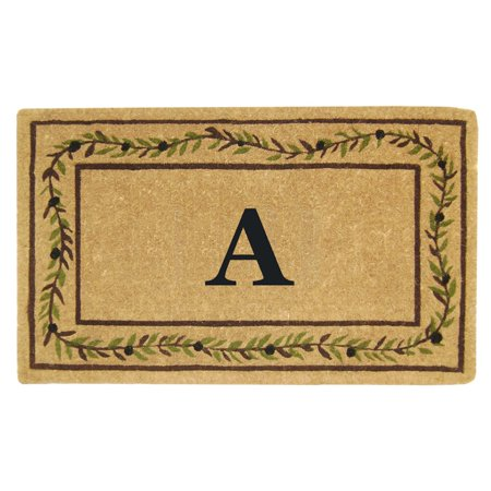 Designer Inspired Olive (Inspired Accents Heavy Duty Coco Mat, Olive Branch Border, Monogrammed)