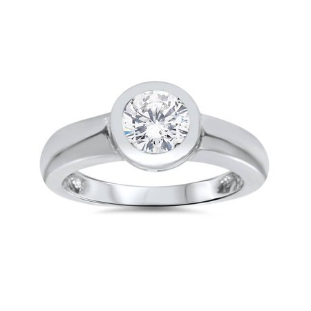 1ct Bezel Set Solitaire Diamond Engagement Ring 14K White Gold (Half Bezel Set Solitaire)