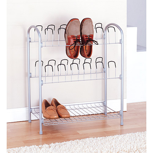 Neu Home 12 Pair Shoe Rack w  Bottom Shelf by Organize It All, Inc.